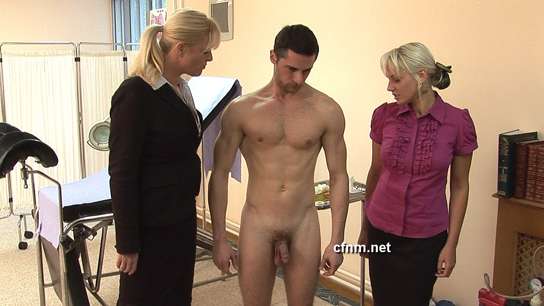 Young cfnm doctors exam male patient and control his cock 5